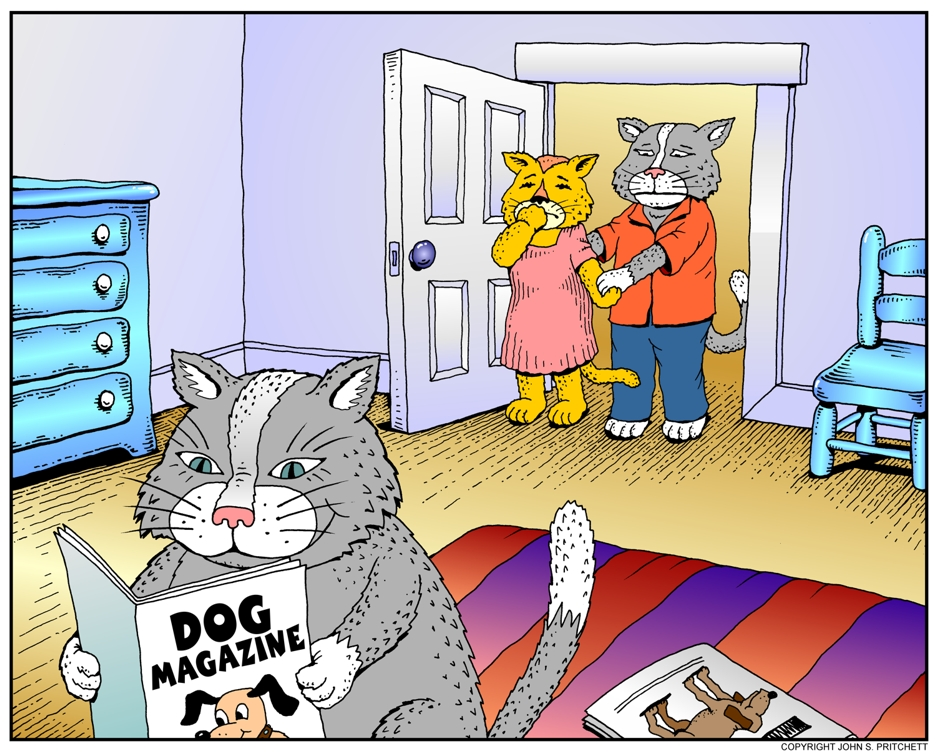 Cat Cartoon Cat Parents Catch Cat Son Reading Dog Magazine Young Male Cat Bedroom Color Illustration Kitty Cat Whimsical Color Cartoon By John Pritchett