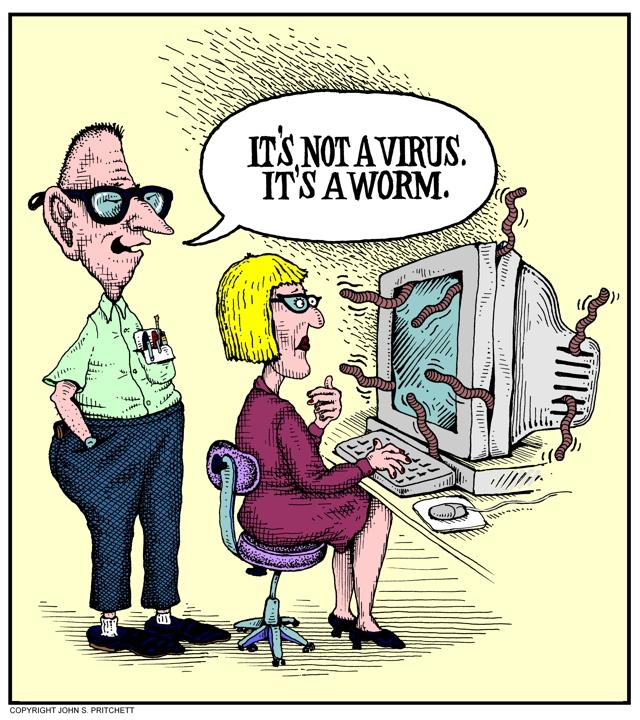 Computer Worm Color Cartoon Computers Information Technology Humor