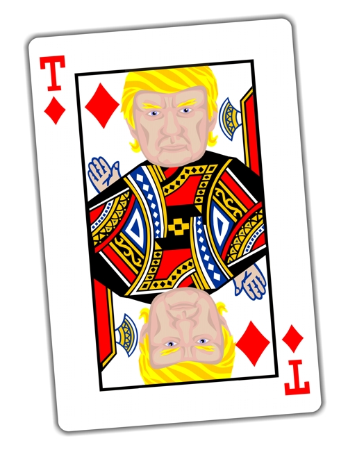 Trump card, playing cards, face card, Donald Trump king of diamonds, color illustration, political cartoon satire, editorial cartoon  by John Pritchett
