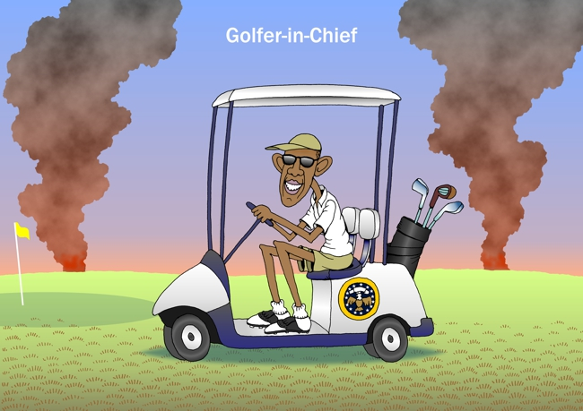 Obama Cartoon President Obama Is Golfer In Chief James Foley Beheaded By Isis Islamic Terrorists Obama Goes Golfing Obama In Golf Cart Image Political Cartoon Editorial Cartoon For Midweek By John Pritchett